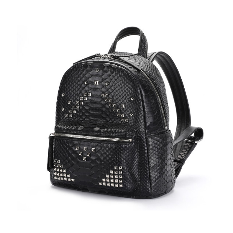 Custom design luxury good quality python skin leather women bag genuine leather ladies backpack