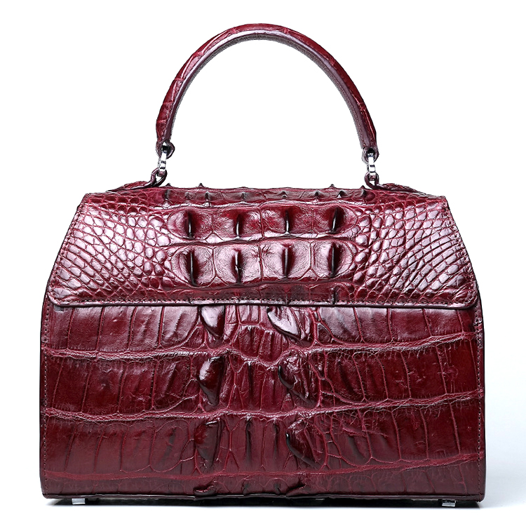 2018 designer brand luxury style red wine crocodile leather lady handbag with CITES certificate