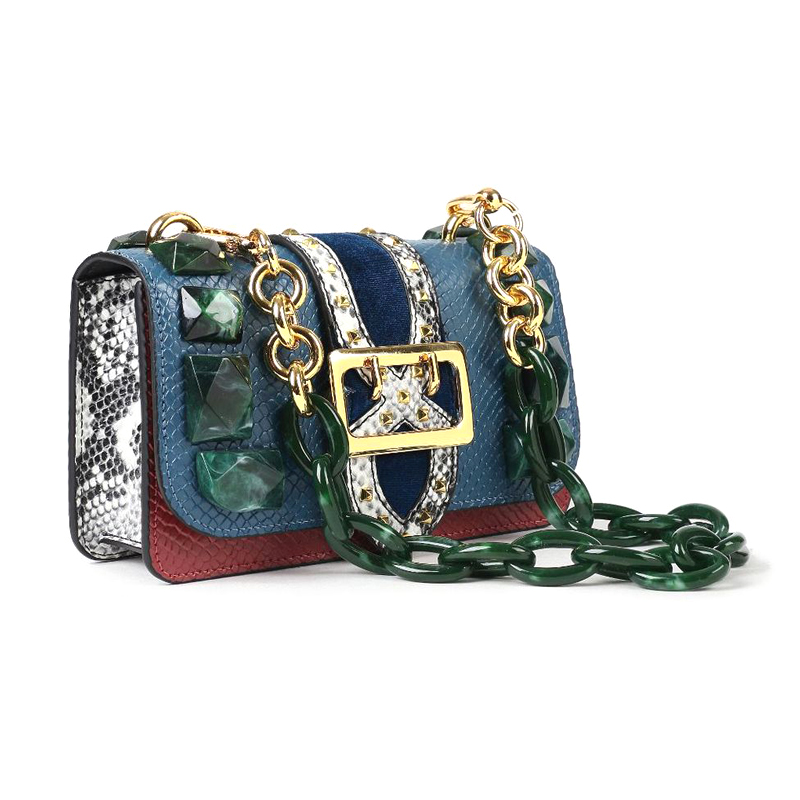 New design fashionable python pattern leather ladies handbag mini leather women purse