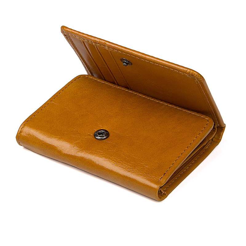 Top quality wholesale price customized yellow brown leather wallet for lady