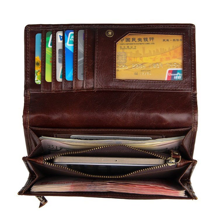 Hot sale cheap price high quality unique style RFID brown leather wallet for women