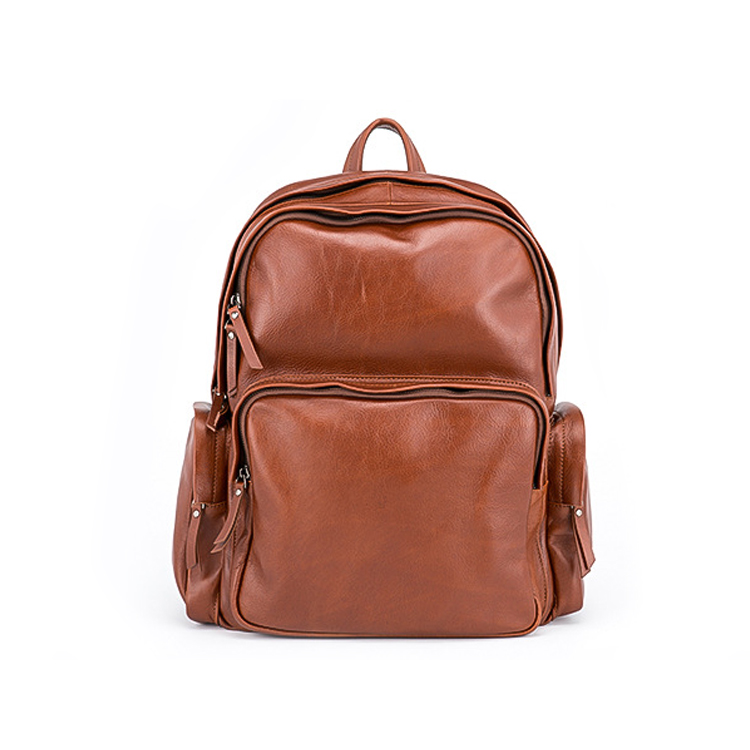 Newest design good quality vegetable tanned leather men backpack laptop backpack for school