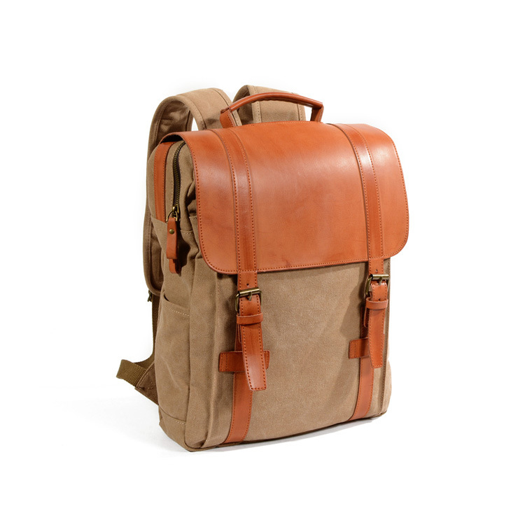 Custom design low price good quality 16Oz canvas leather school backpack for student