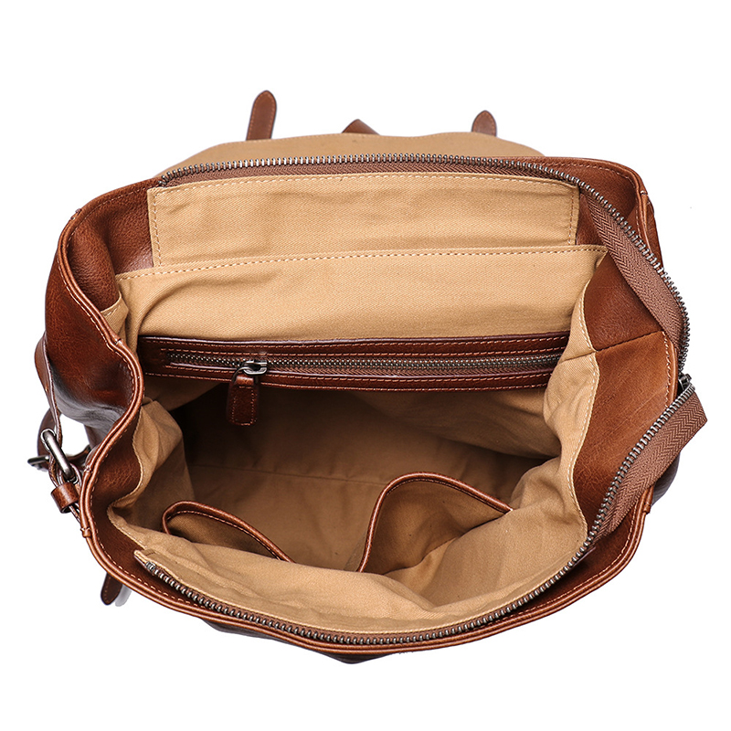 New design daily use brown leather bag genuine leather backpack for women