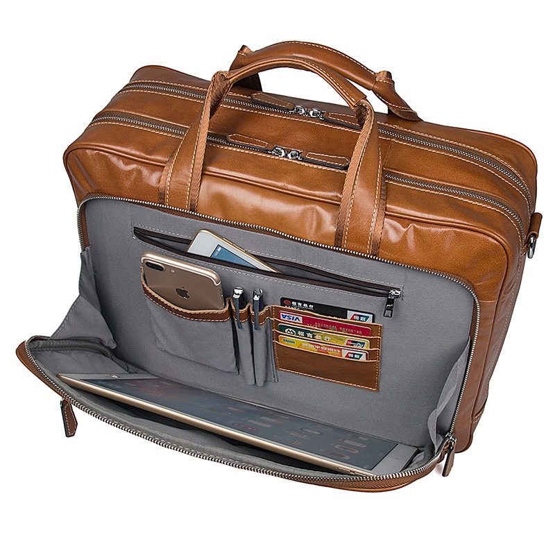 China manufacturer good quality large capacity tan color leather business bag for traveling