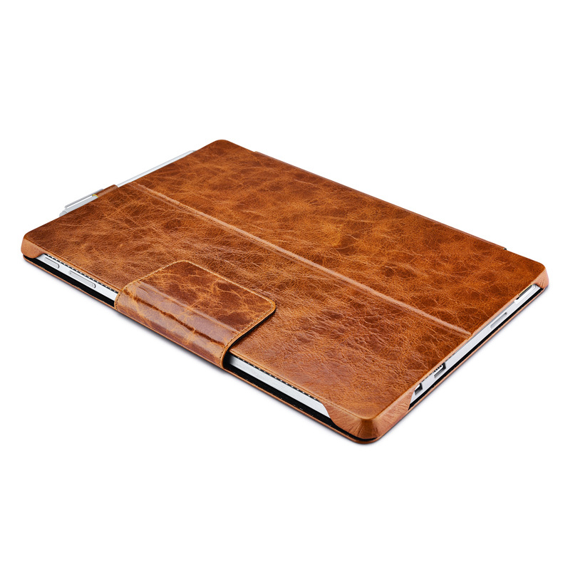 Newest design high quality vintage brown real leather Microsoft surface pro 4 cover tablet cases