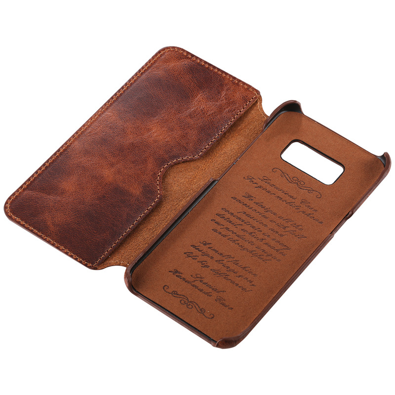 Manufacturer price good quality vintage brown leather mobile phone cases for Samsung S8 Plus