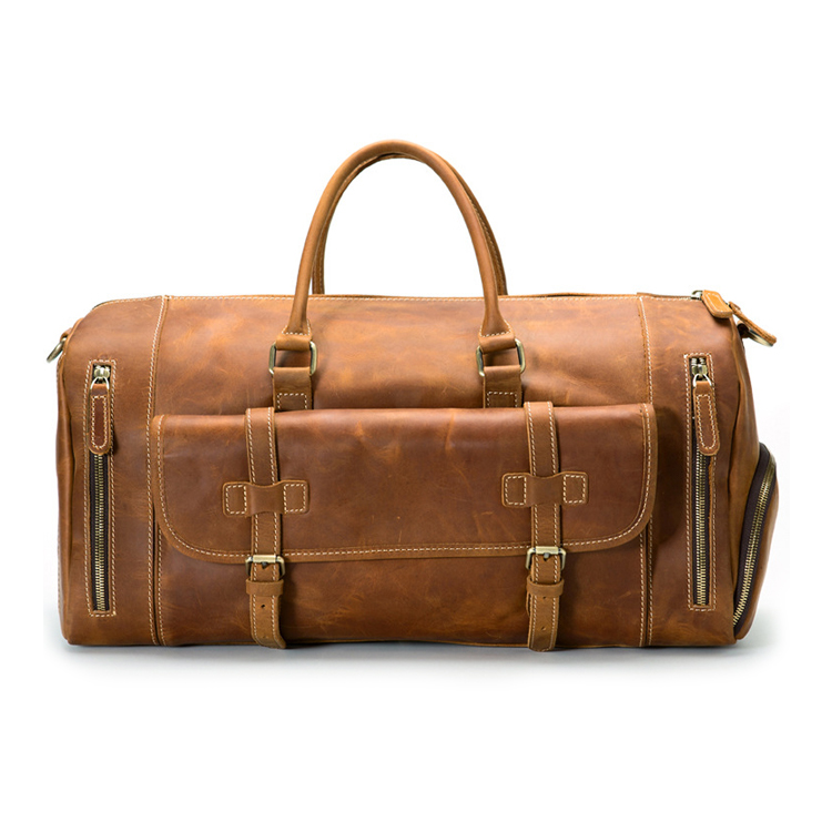 Factory price large capacity crazy horse leather duffle bag brown leather travel bag with shoes space