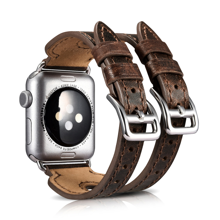 Latest design wholesale price 38mm 42mm double straps coffee leather apple watch strap