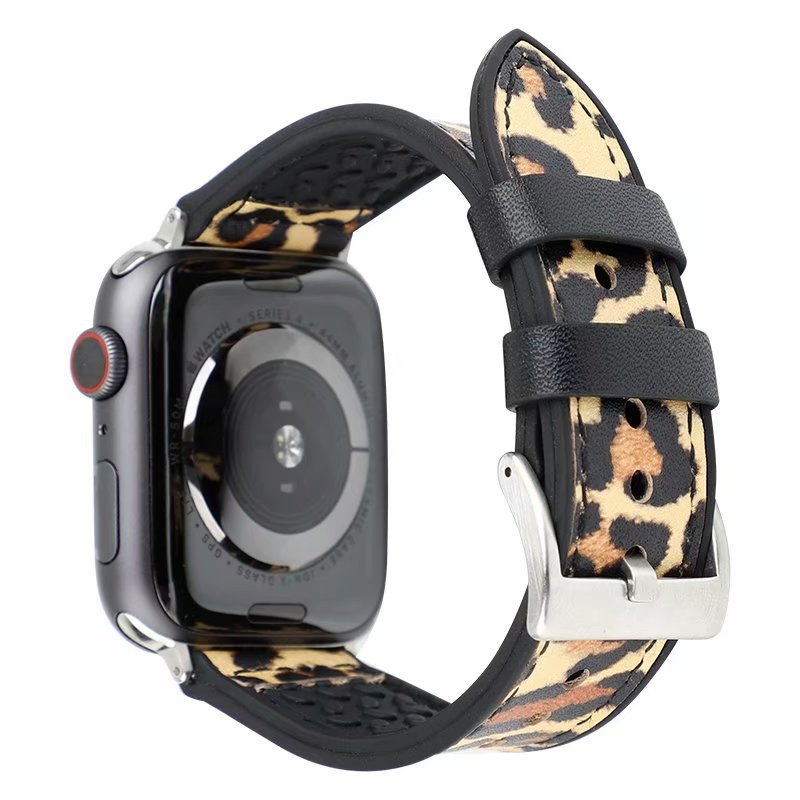 Factory price new design leopard pattern leather watch bands 38mm apple watch straps