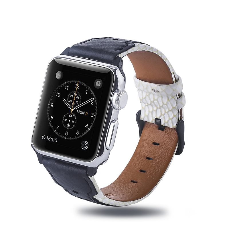 Newest design good quality genuine leather apple watch straps real leather watch bands 38mm