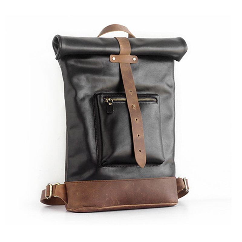 Factory price good quality black genuine leather school bag leather backpack for men