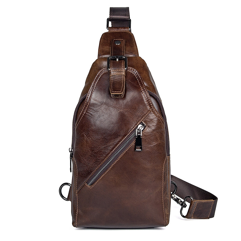 China factory price good quality leisure bag brown top layer leather chest bag