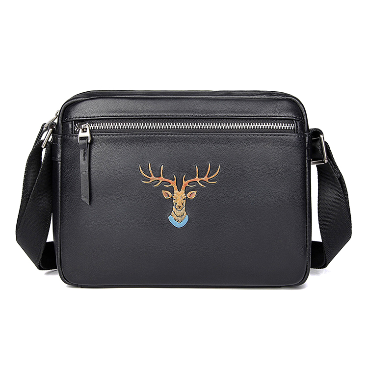 New design top quality real leather men messenger bag black leather handbag for male