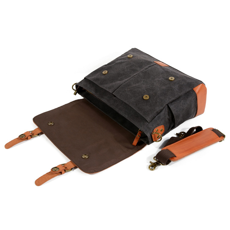 Factory price good quality vintage waterproof canvas leather messenger bag satchel bag for school