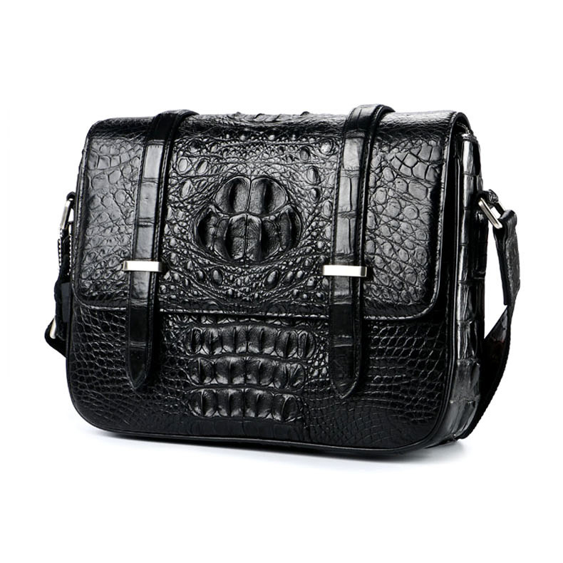 Luxury design top quality genuine crocodile skin leather messenger bag real leather briefcase for men