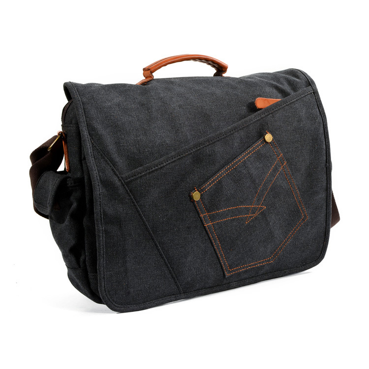 China factory wholesale price good quality denim canvas school bag messenger bag for men