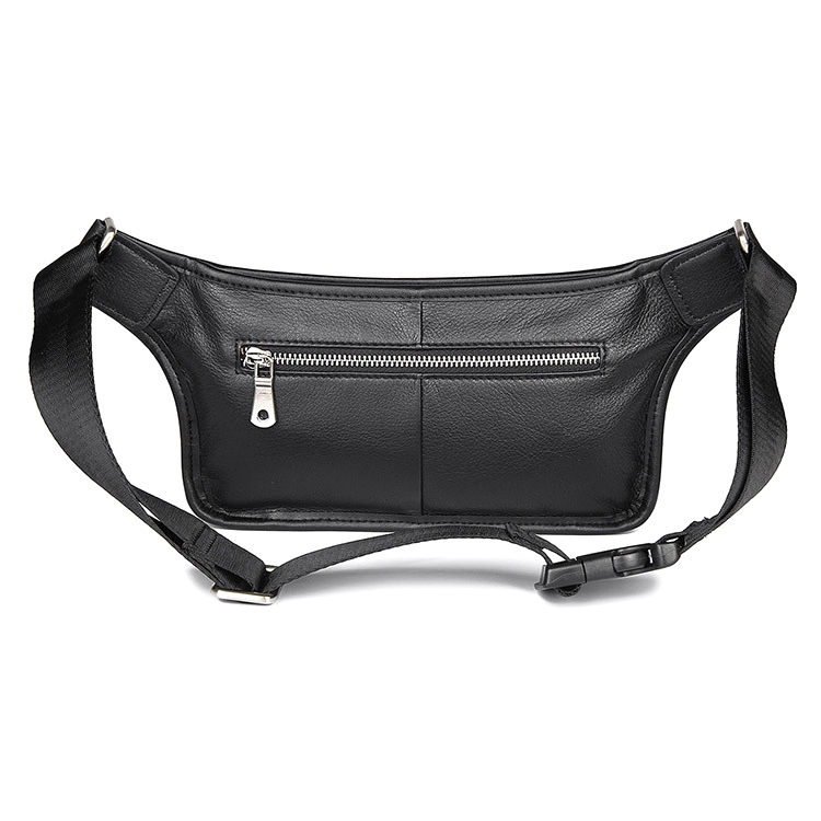 Amazon hot selling black 100% pure leather waist bag genuine leather fanny pack for men