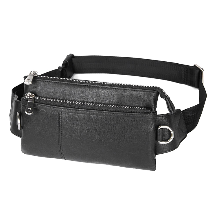 Factory cheap price good quality genuine leather fanny pack men leather waist bag