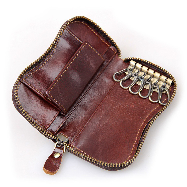 Factory price good quality mens leather key holder wallet with cion pocket