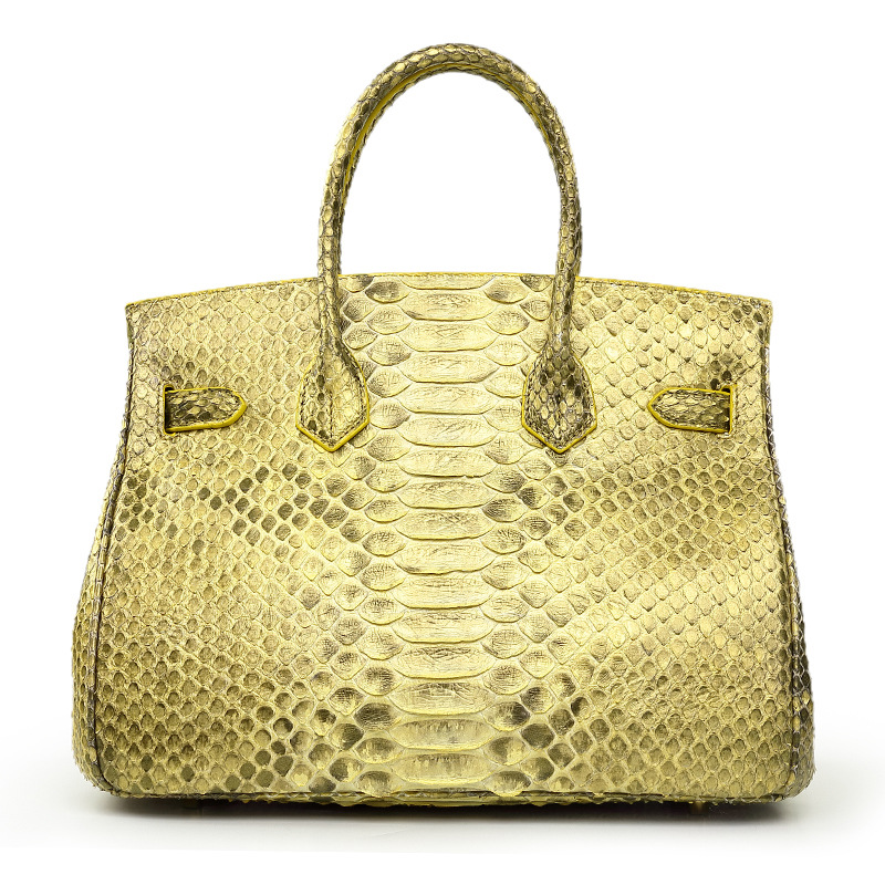Famous brand design handmade real python skin leather female handbag with CITES certificate