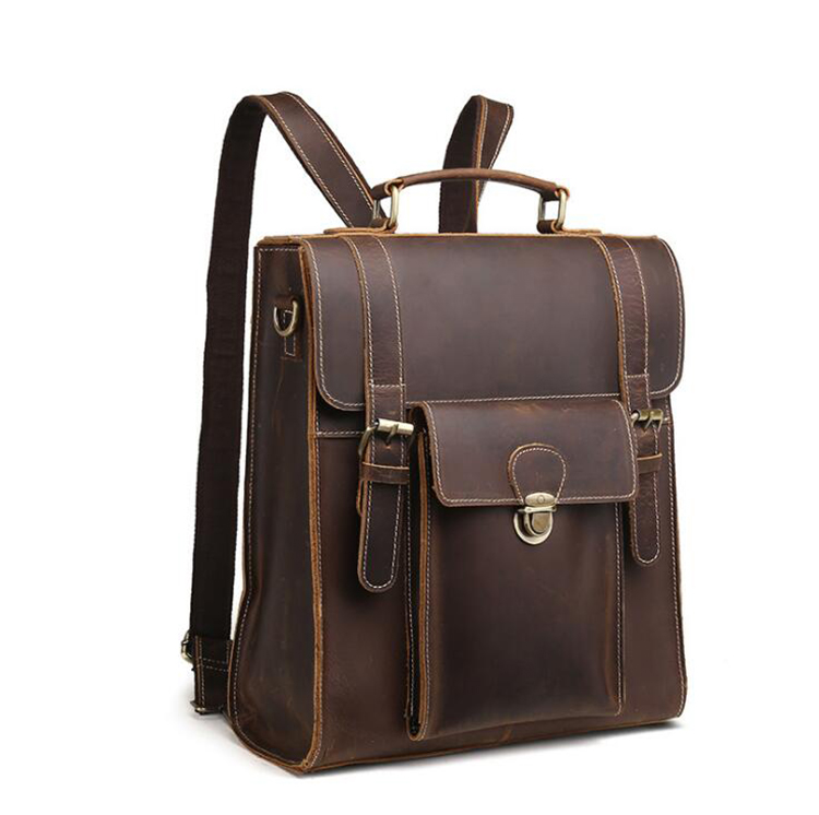 Factory price good quality brown crazy horse leather backpack for men