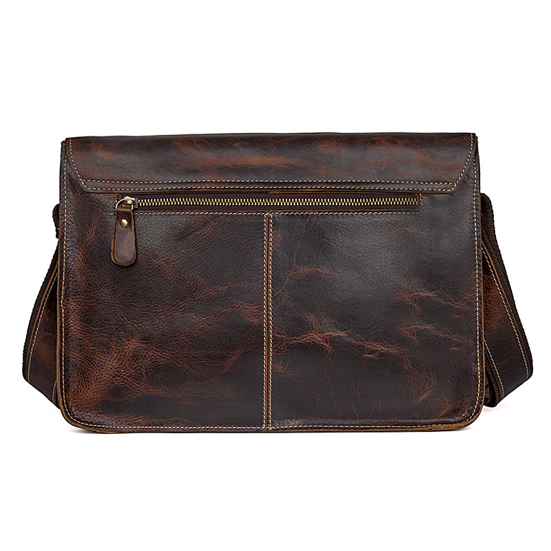 OEM order low price good quality retro style brown leather messenger cambridge bag