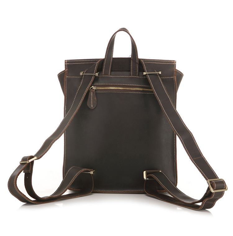 Fashion Stylish Dark Brown Cowhide Leather Unisex Bag School Backpack