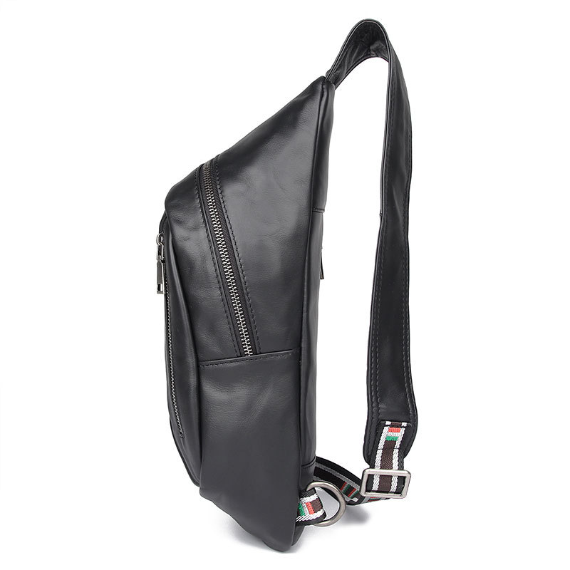 OEM ODM design good quality black leather chest bag real leather sport bag for men
