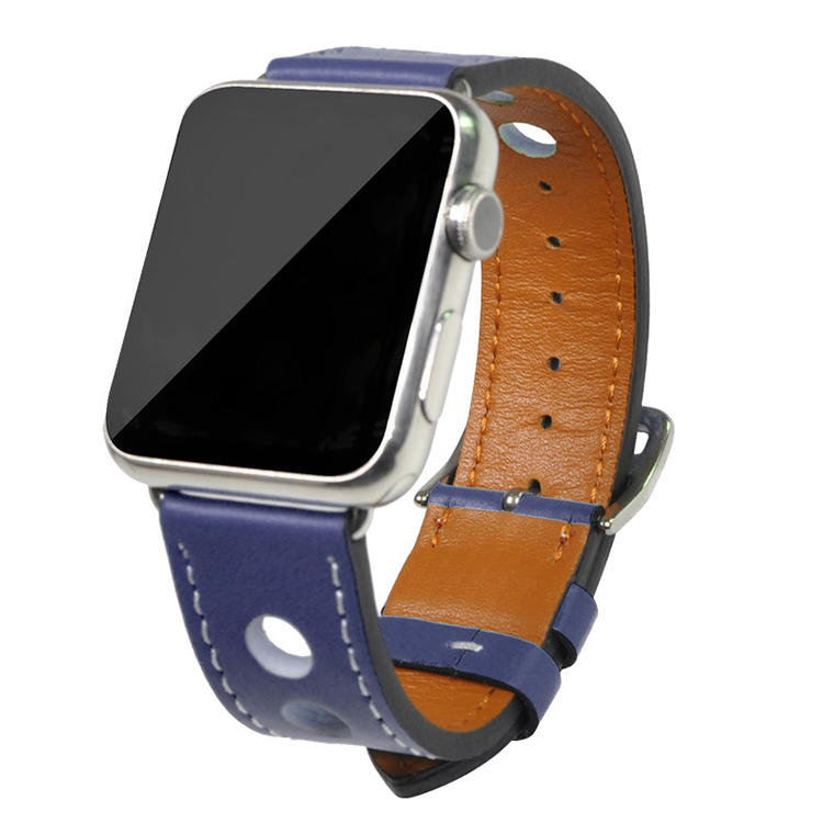 Fashion Design Good Quality 22mm Width Genuine Leather Apple Watch Strap
