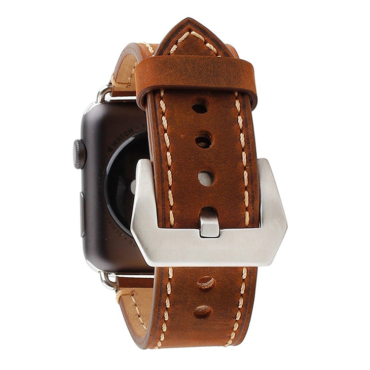 Factory price custom design brown crazy horse leather 38mm apple watch bands
