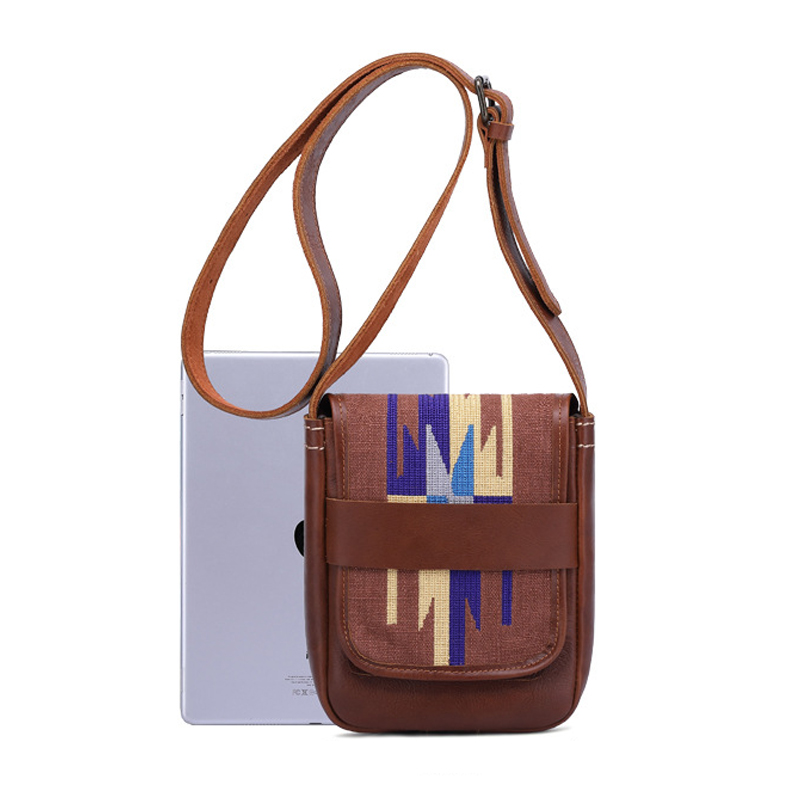 Wholesale price high quality indian style canvas mix leather mini purse leather messenger bag