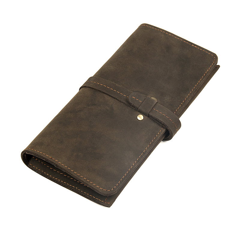 Customzied design dark brown crazy horse leather credit cards wallet with coin pocket