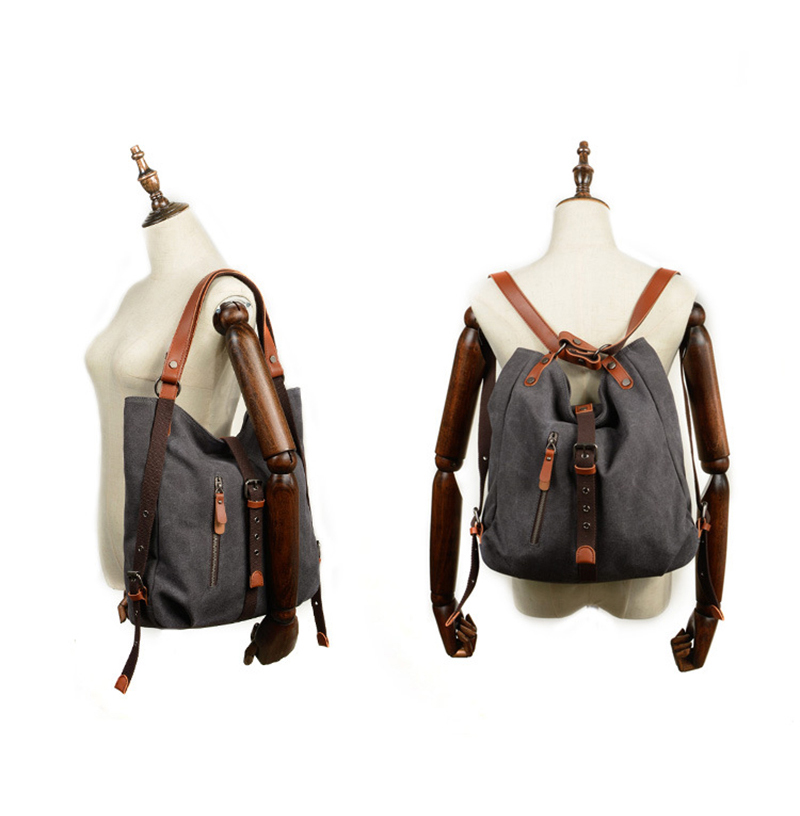 Factory cheap price good quality canvas mix leather women backpack ladies tote hand bag