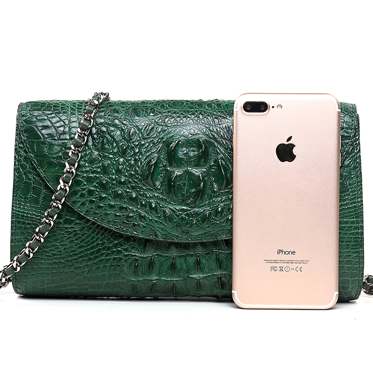 High end handmade green genuine crocodile skin leather clutch bag with metal chain