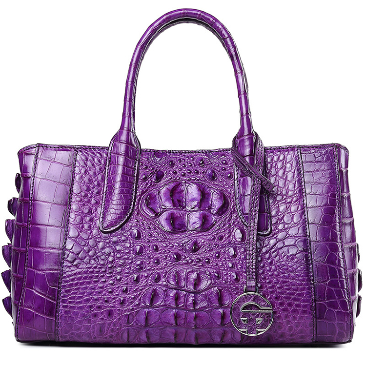 Custom fashion design purple genuine crocodile skin leather lady handbag with CITES certificate