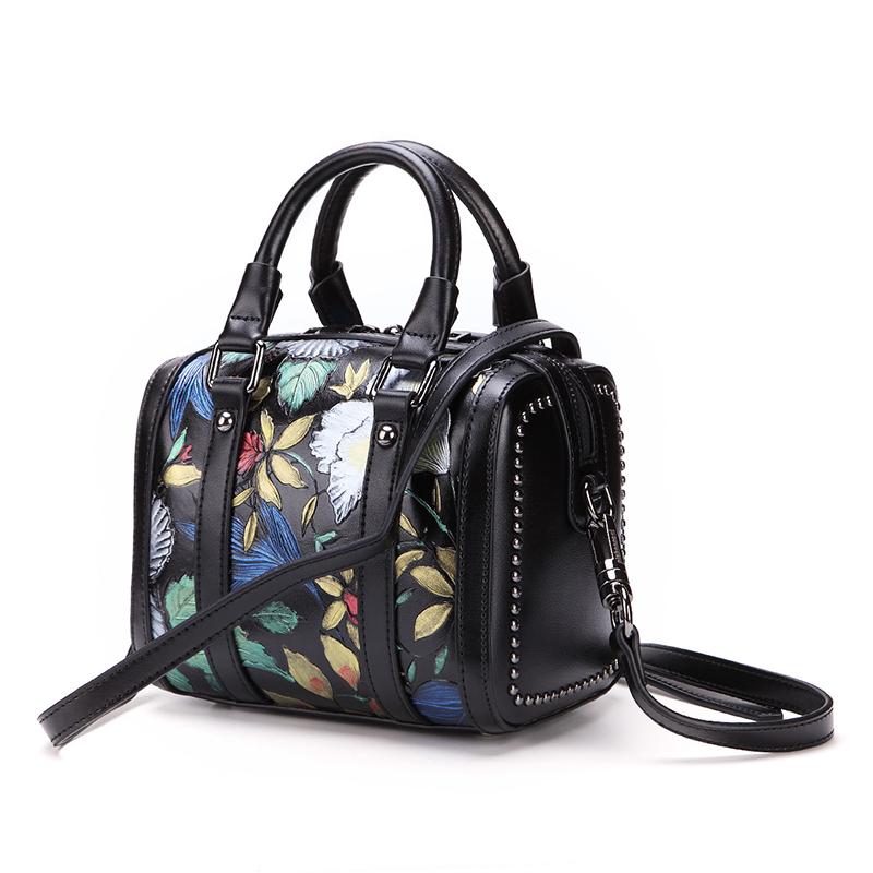 Handbag factory price new design fashion flowers printing leather women bag leather purse
