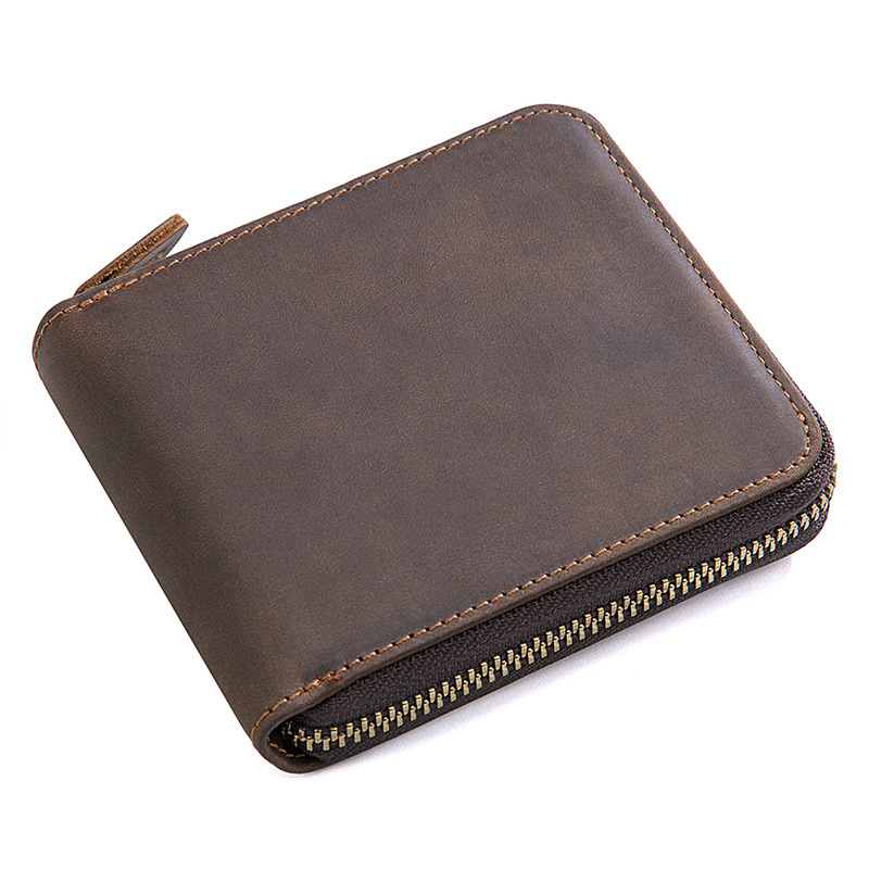 Hot selling classical design retro brown crazy horse leather wallet with coin pocket