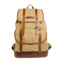 New design fashion khaki canvas and real leather hiking backpack