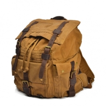 High quality thick canvas khaki large military army waterproof backpack