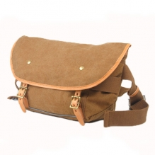 Classical design high quality canvas leather shoulder messenger small satchel bags unisex