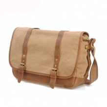 Daily use leisure style khaki cotton canvas leather messenger bag wholesale