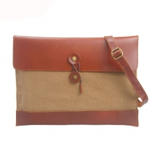 Factory price good quality canvas leather envelop clutch document bag
