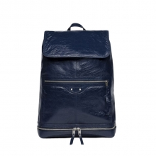 New arrival dark blue italy leather sports backpack bag