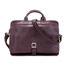 Durable vintage real leather shoulder briefcase bag for men