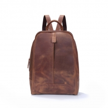 Daily use handmade crazy horse leather school backpack bag