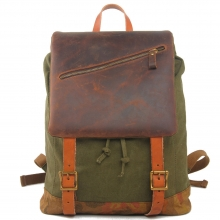 High Quality Custom Leather Trim Sports Rucksack Bag Canvas Backpack for Men