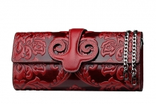 High quality Chinese style small genuine leather clutch purses for ladies