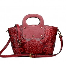 High end luxury Chinese style custom red leather shoulder tote bags for ladies