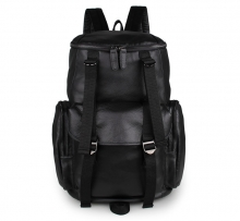 China wholesale custom black leather mens travel backpacks